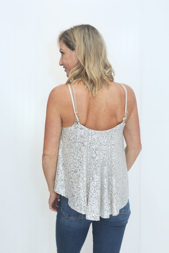 Get Your Shine On Silver Sequin Cami (5612189876384)