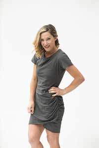 Enjoy the Day Charcoal T-Shirt Dress