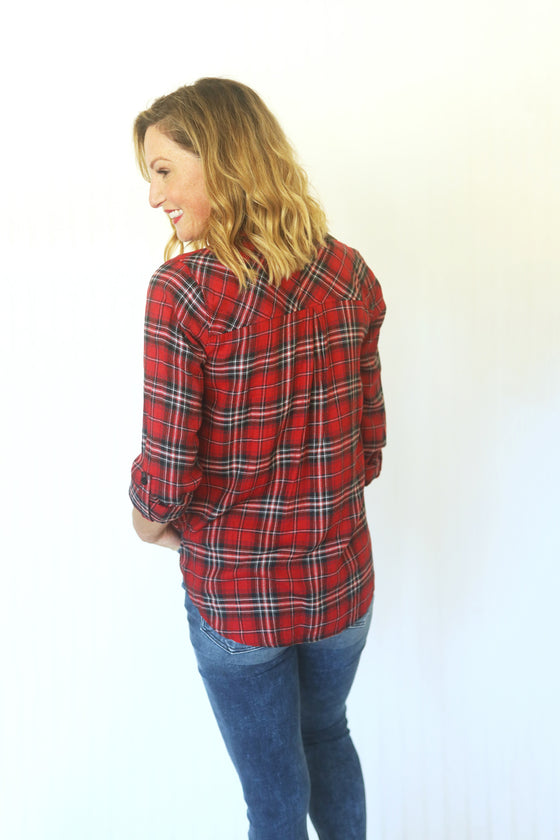 Places to Go Plaid Red Button Up (5411734782112)