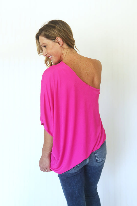 A Touch of Sass Hot Pink Top (5508908187808)