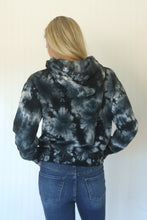Load image into Gallery viewer, Cozy Confessions Navied Black Tie-Dye Fleece Hoodie (5558111961248)