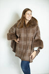Faux Fur Plaid Cape Poncho (5812561608864)