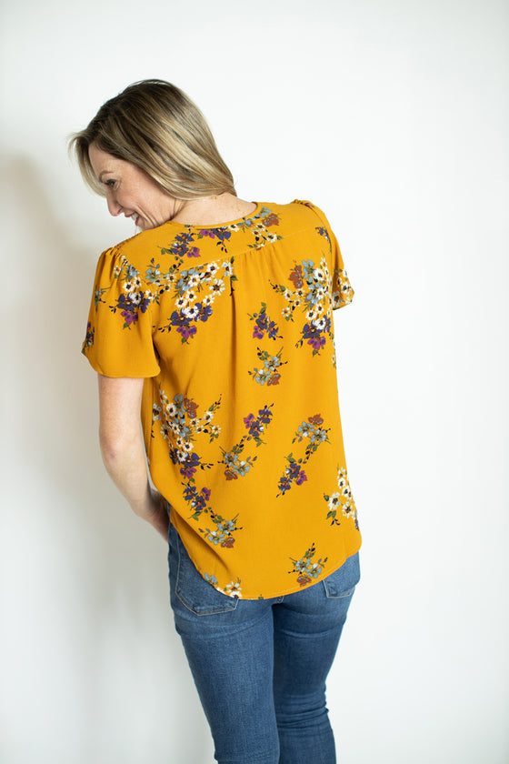 Must Have Been Love Mustard Floral Top (5809273372832)