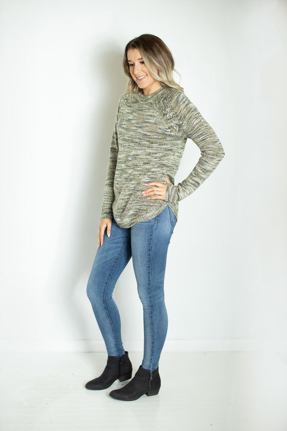 Blow Me Away Marled Olive Sweater (5738626711712)
