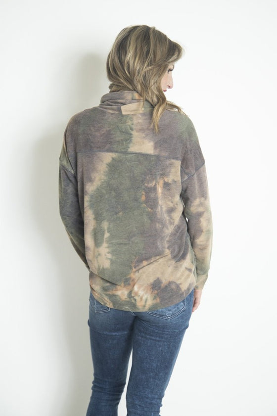 Down to Earth Tie Dye Turtleneck Olive (5892915232928)