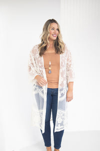 Elegance and Ease Cream Lace Kimono