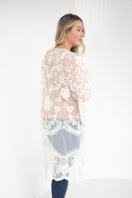 Load image into Gallery viewer, Elegance and Ease Cream Lace Kimono