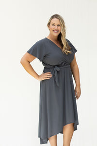 Wrapped in Love Curvy Charcoal Dress (5239892607136)