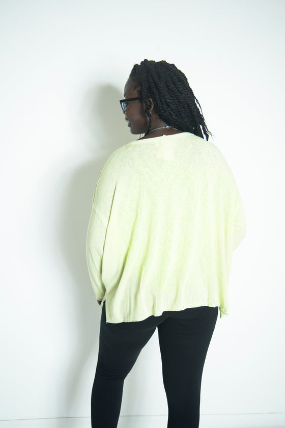 Escape to Paradise Reverse Seam Knit Top in Lime (5892915036320)