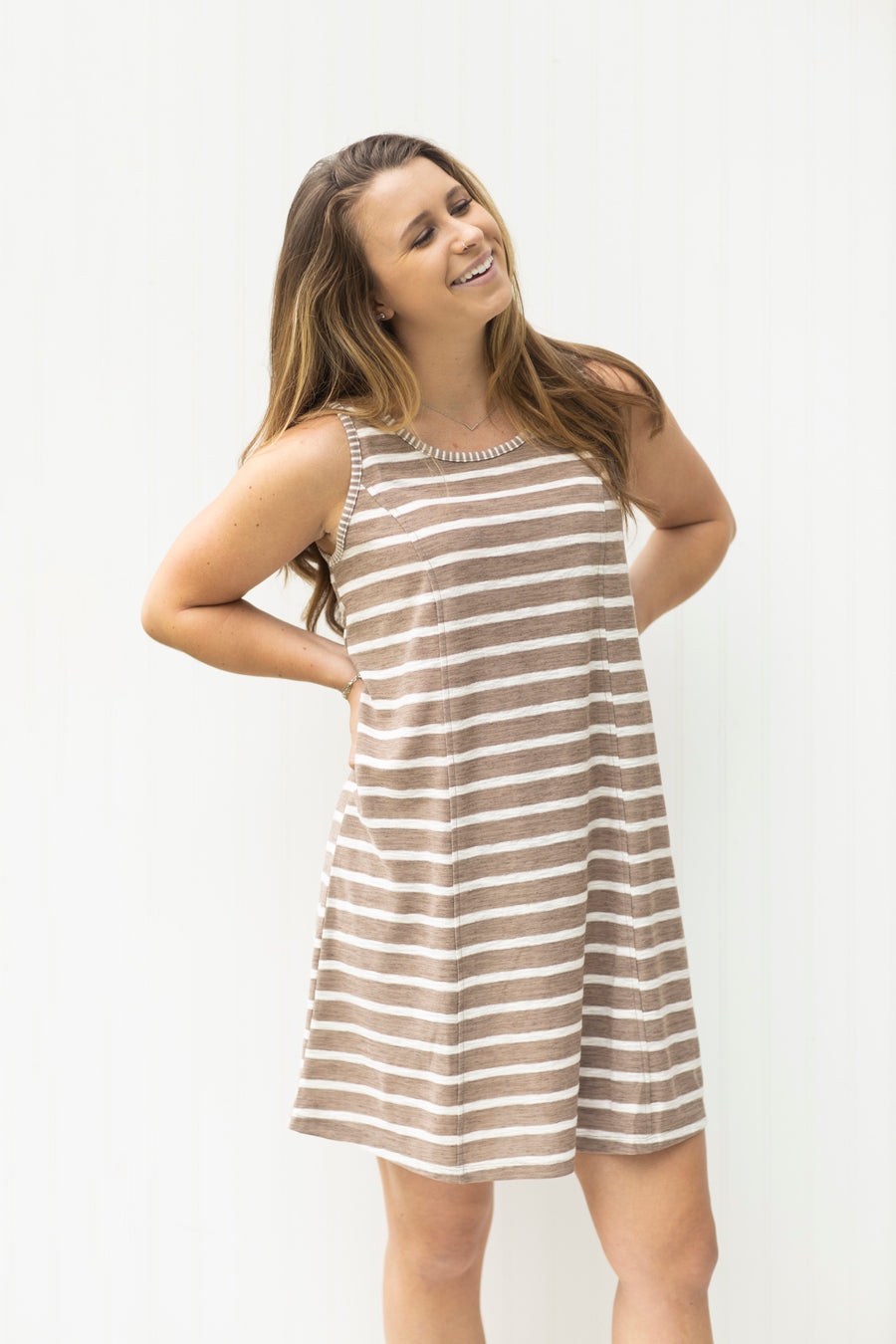 Picture Perfect Taupe Striped T-Shirt Dress