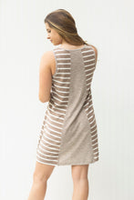 Load image into Gallery viewer, Picture Perfect Taupe Striped T-Shirt Dress