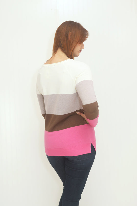 Slow Dance Ivory & Hot Pink Sweater (5501398679712)