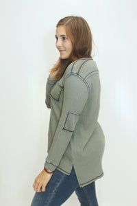 Better Than Ever Olive Thermal Top (5612189286560)