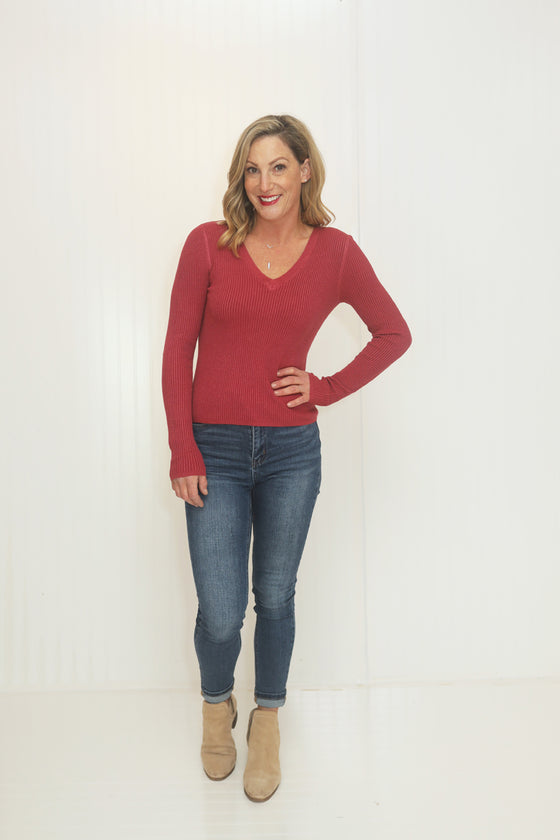 Tied To You Marsala Long Sleeve Top (5649921769632)