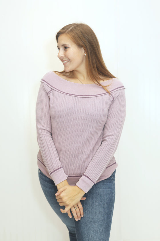 Thank Me Later Mauve Thermal Knit Top (5612188893344)