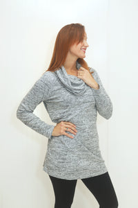 Sweet Escape Lt. Grey Cowl Neck Dress (5682350227616)
