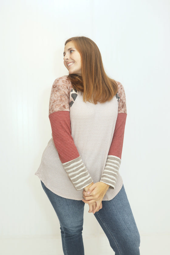 We Can Go Anywhere Taupe Longsleeve Top (5501397041312)