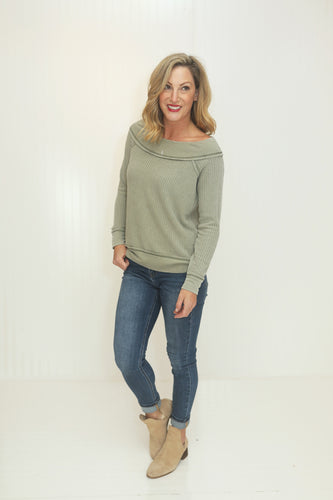 Thank Me Later Lt. Olive Thermal Knit Top (5612188729504)