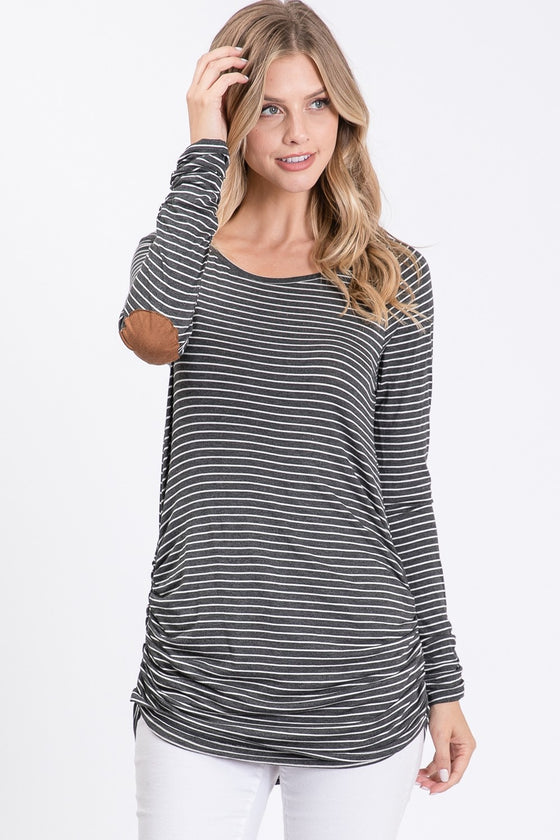 Be Mime Charcoal & White Striped Tunic Top (5705275637920)