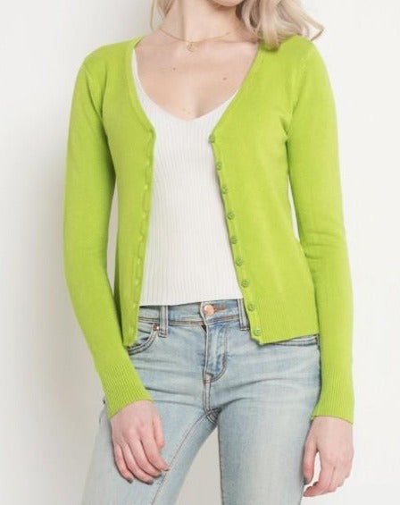 The Classic Cropped Cardigan in Lime (6589693919392)