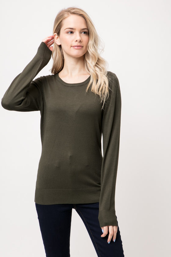 Someone Like You Olive Crewneck Pullover (5501396385952)