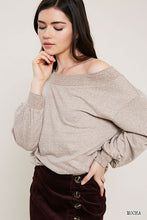 Load image into Gallery viewer, Heart's Content Mocha Marled Knit Sweatshirt (5529336119456)