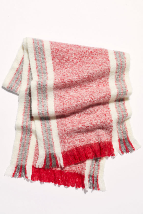 Free People Brushed Racer Stripe Blanket Scarf in Red Combo (5806888616096)