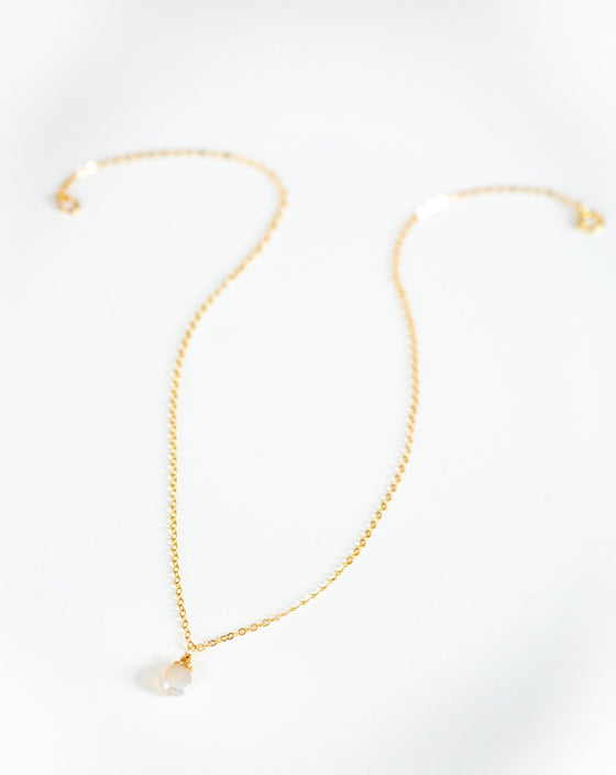 Ali Champagne Moonstone Drop Necklace (6005177778336)