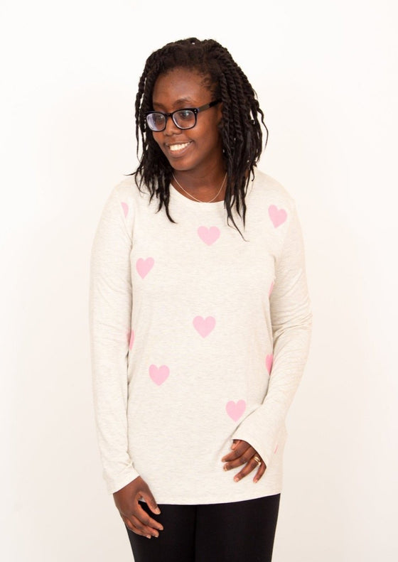 Heart Eyes Oatmeal Graphic Print Top (5981257466016)