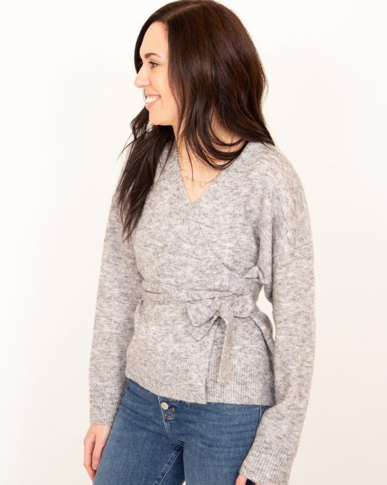 Flirty Girl Wrap Cardigan in Heather Grey (5995337842848)