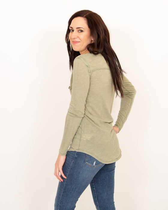 Betty Long Sleeve in Faded Military (5996012667040)