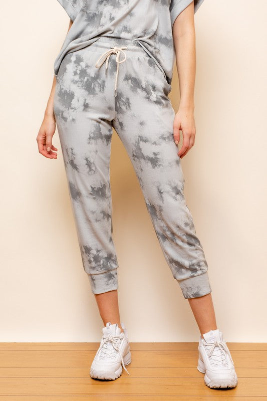 Catching the Vibes Grey Tie-Dye Joggers
