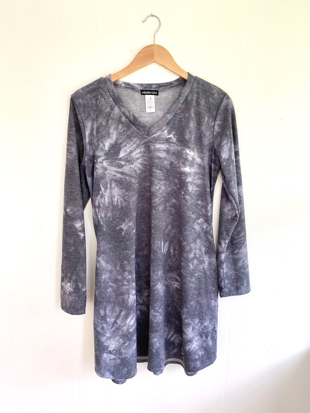 Forever Young Black Tie-Dye T-Shirt Dress (5550229520544)