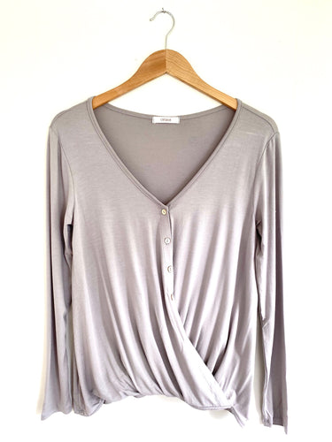 Silver Linings Knit Jersey High-Low Top (5682349736096)