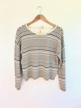 Load image into Gallery viewer, She Is Love Cream & Black Striped Sweater (5501395402912)