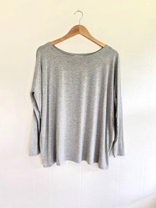 Treasured Moments Heather Grey Piko Top (5738626482336)