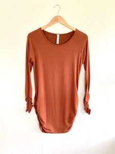 Ready To Go Rust Ruched Tunic Top (5738625695904)