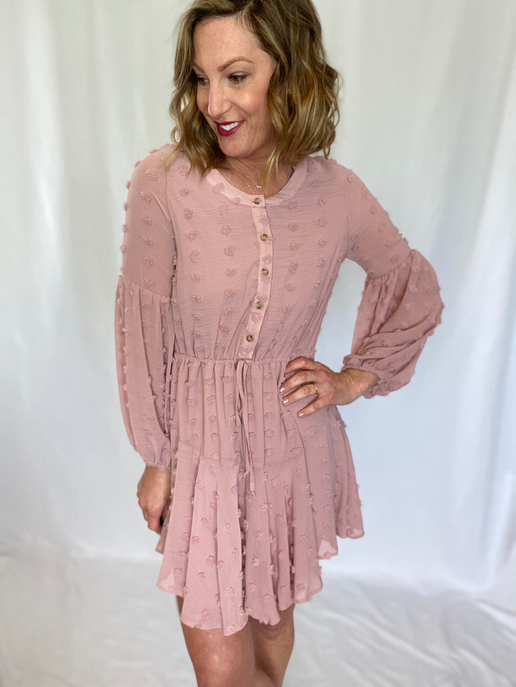 Keep Me Company Textured Pink Dress