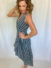 Load image into Gallery viewer, Striking in Strips Faux Wrap Dress