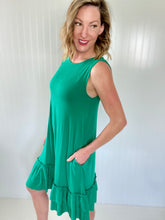 Load image into Gallery viewer, Keeping It Kind Kelly Green Sleeveless Dress
