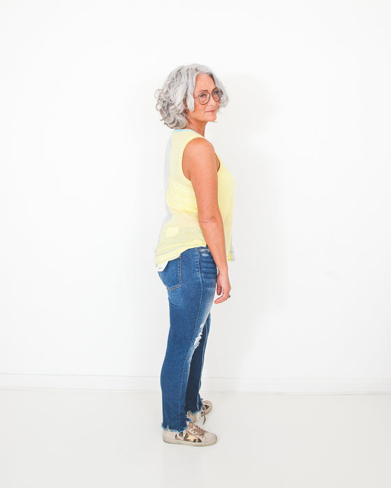 Back To You Yellow Color Block Tank (6551460577440)