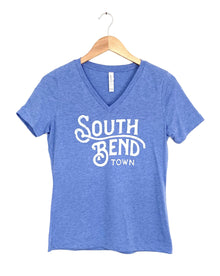 South Bend Town Blue Tri Blend Relaxed V-Neck Women's Tee (6010295222432)