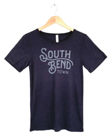 South Bend Town Charcoal Black Tri Blend Relaxed S/S Women's Tee (6011527430304)