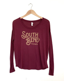 South Bend Town Maroon Long Sleeve Women's Tee (6015546949792)