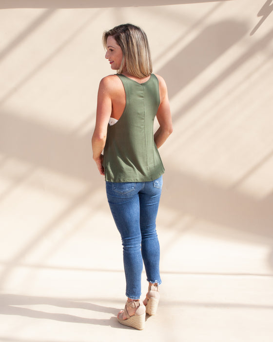 Mom Hustle Tank in Olive (6632870445216)