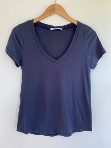 Simply Perfect Navy Cotton V-Neck Tee (5809276551328)