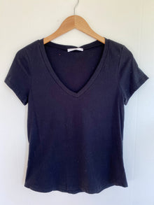 Simply Perfect Black Cotton V-Neck Tee (5809276453024)