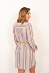 See You Again Striped Shirt Dress in Taupe (6011128578208)