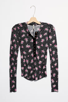 Free People One of the Girls Marled Black Floral Top (5768926494880)