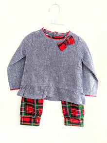 Plaid & Chambray Holiday Outfit Set 9-12mo. (5165037781036)